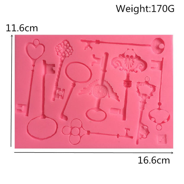 New DIY Steam Punk Key Series Cake Border Fondant Cake Molds Chocolate Mold For The Kitchen Baking Decoration Tool