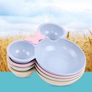 New Eco-friendly Material Wheat Straw Food Grade PP Pink Bowknot Baby Kid's Bowl Dinner Plate Spoon Fork Set