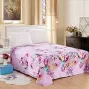 New Fashion Bed Fitted Sheet Cover Floral Printed Striped Soft Elastic Sheets Bed Sheet Pillow Cover Home Casual Textile
