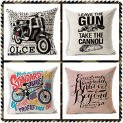 New Fashion Letters Pillow Cover Black And White Bike Moto Gun Scandinavian Printed Cushion Covers Design For Sofa Car-covers
