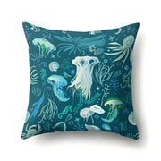 New Jellyfish Pillow Cover Set Aqua Colors Art Ocean Animal Print Sketch Style Creative Sea Marine Theme Drop Shipping