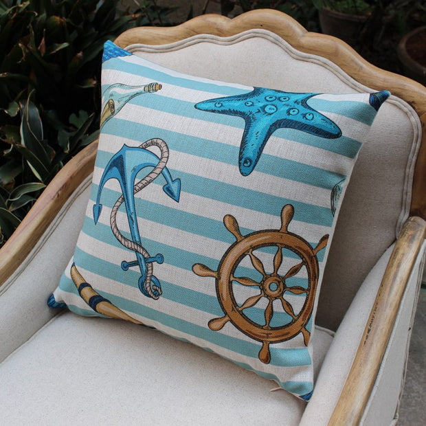 New Mediterranean Cotton Linen Pillowcase Cartoon Printed Square Cushions Decorative Pillow Home Decor Throw Pillow 45*45