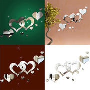 New Modern Home Room Art 3D DIY Pack Of Living Heart Shape Mirror Decoration Wall Silver Stickers