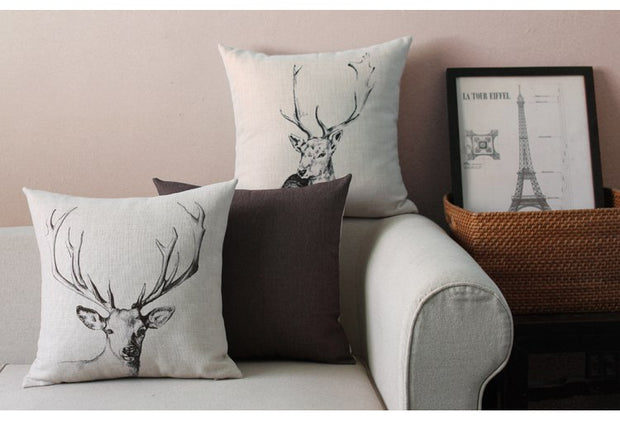 New Nordic Design Modern Simple Art Pillowcase Painted Deer Square Cushion Decorative Pillow Home Decor Throw Pillow 45*45