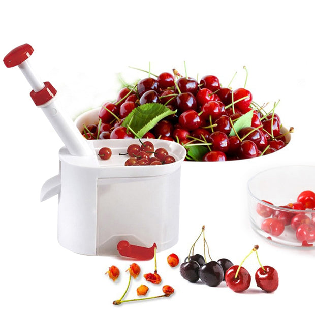 New Novelty Super Cherry Pitter Stone Corer Remover Machine Cherry Corer With Container Kitchen Gadgets Tool
