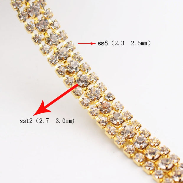 New Rhinestones Cup Chain 1 Yards 3 Rows Copper Claws Shiny Crystals Chain Rhinestones Strass Sewing Rhinestones For Clothes