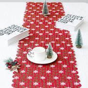 New Year 2019 Merry Christmas Decorations For Home Christmas Embroidery Linen Table Flag Tablecloths Party Decoration Creative