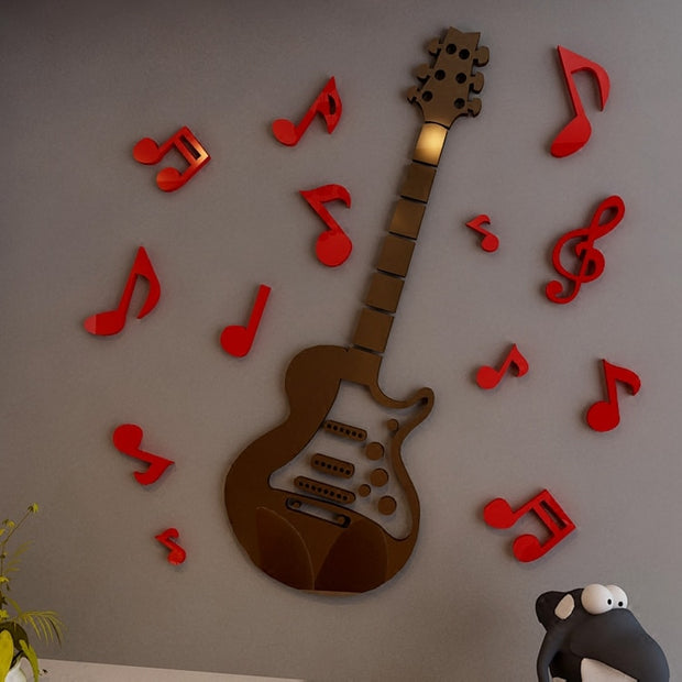 New Arrival Guitar Note Acrylic 3D Wall Stickers Children's Room Bedside Music Decoration Music Classroom DIY Art Wall Secor