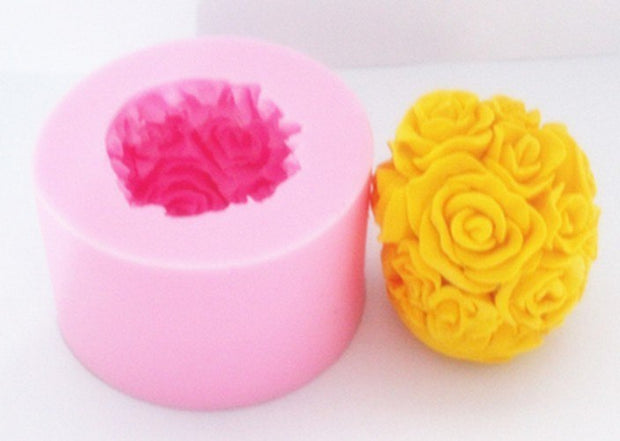 Newcomdigi Cake Tools 3D Round Rose Flower Ball Fondant Cake Decoration Mould 3D Food Grade Silicone Cake Mold