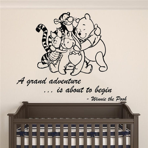 Neymar Winnie Pooh & Friends - A Grand Adventure Is About To Begin Quote Baby Room Wall Decal- Decal For Baby's Sticker X091
