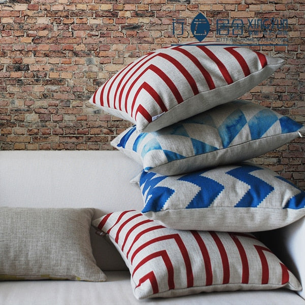 Nordic Abstract Stripe Printed Pillowcase Modern Geometric Square Cushions Decorative Pillow Home Decor Throw Pillow 45*45