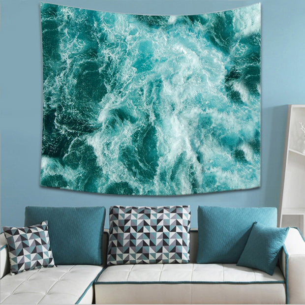 Nordic Beach Surf Pattern Tapestry Abstract Painting Art Wall Hanging Gobelin Livingroom Decor Crafts