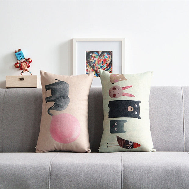 Nordic Design Anime Printed Pillowcase Cartoon Elephant Sofa Throw Pillows Cushion Decorative Pillow Home Decor Almofada Luxo