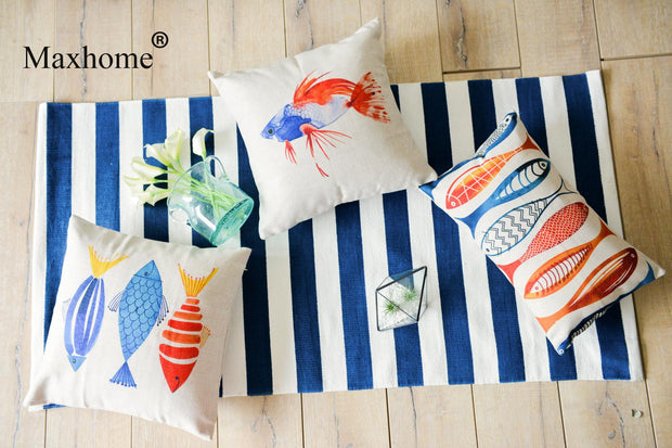 Nordic Simple Hand Painted Goldfish Pillowcase Cotton Linen Cushion Decorative Pillow Home Decor Sofa Throw Pillows Almofadas
