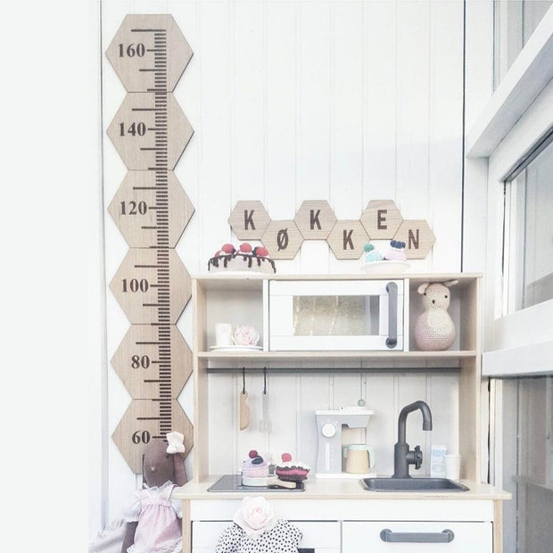 Nordic Style Wooden Ruler Alphabet Home Shop Photo Studio Wall Decor