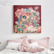 Nordic Watercolor Cartoon Flowers Girl Pigeon Sleep Canvas Painting Poster Print Wall Picture For Kid Room Home Decorative Mural