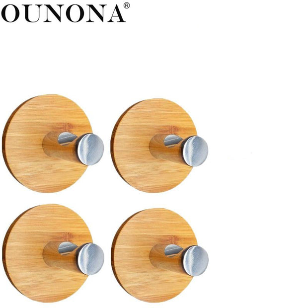OUNONA 4 Pcs Notchy Adhesive For Clothes Towel Holder For Home Kitchen Hooks Bamboo Wood & Stainless Steel Wall Hangers