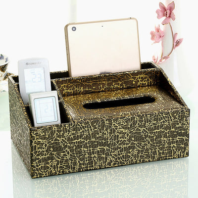 PU Leather Tissue Boxes Vintage Tissue Container Towel Napkin Holder Case Phone Holder Office Home Storage Organizer Decoration
