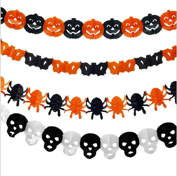 Paper Chain Garland Decorations Pumpkin Bat Ghost Spider Skull Shape Halloween Decor Garland IC873957