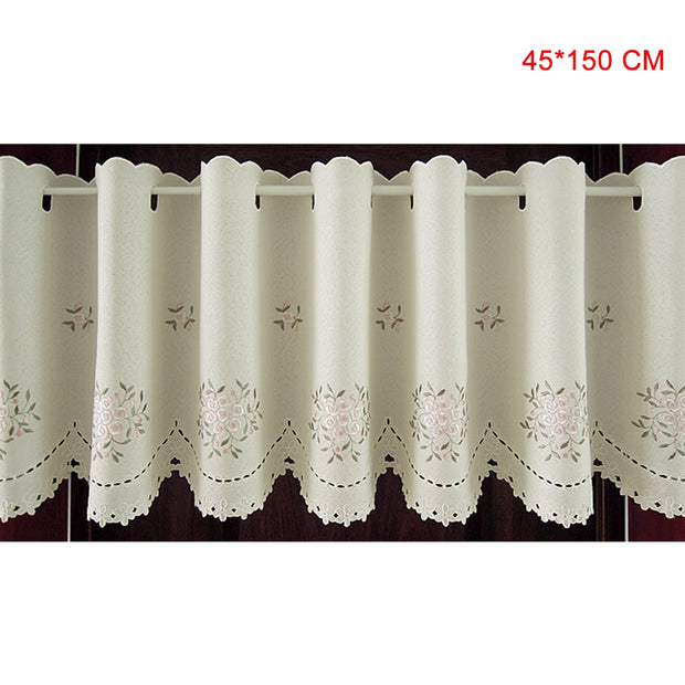 Pastoral Pink Rose Embroidery Half-curtain Bay Window Curtain For Coffee Room Cortina De Flores Rideaux SP4039 Free Shipping