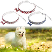 Pendant Dog Puppy Cat Custom Elastic Identified Pet Collar Rhinestone Necklace