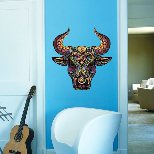 Personality New Large 76*80cm 3d Pvc Colorful Rhino Decorative Vinyl Wall Sticker Living Room Bedroom Animal Wallpaper Mural Art