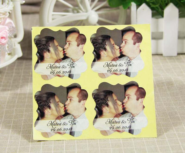 Personalized Wedding Stickers Custom Photo Sticker Your Names And Date Wedding Label Engagement Anniversary Party Favors Labels