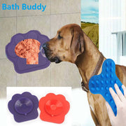 Pet Dog Bath Divert Attention Toys Puppy Wall Sticked Bowl For Snacks Footprint Shape Silicone Bath Toys Makes Bath Easier
