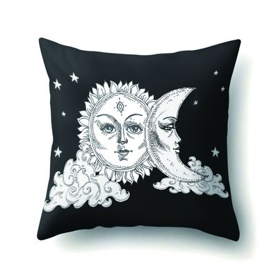 Pillowcases 45*45 CM Square Black And White 2019 Home Pillow Cases Sun Moon Pattern Throw Pillowcase