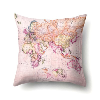 Pillowcases 45*45 CM Square World Map Print Pillowcase Home Room Soft Cotton Pillow Case