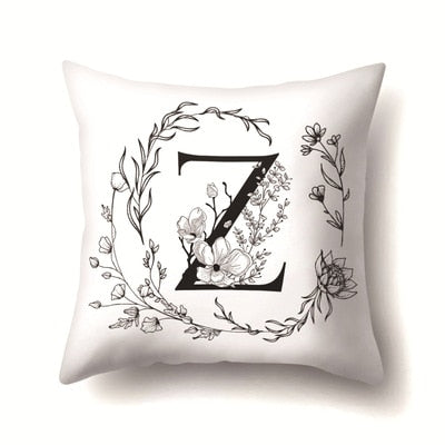 Pillowcases Home Fashion English Letter Print Pillowcase Flower Floral Throw Pillow Case For Bedroom 45*45cm