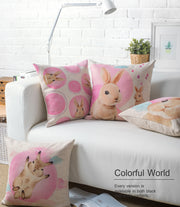 Pink Rabbit Cartoon Cotton Linen Pillowcase Lovely Sofa Cushion Decorative Pillows Home Decor Sofa Throw Pillows 45*45