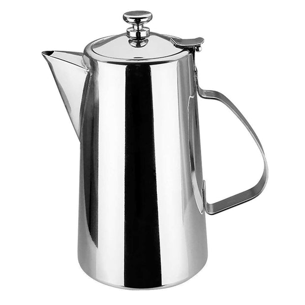 Pitcher Stainless Steel Water Carafe With Lid For Coffee Milk Beverage - Short Spout, 2L