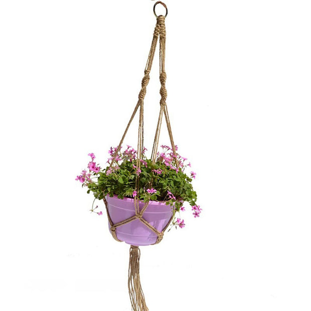 Plant Pot Hanger, Sturdy Macrame Jute Hanging Planter For Indoor Outdoor Ceiling Home Decor(Red)