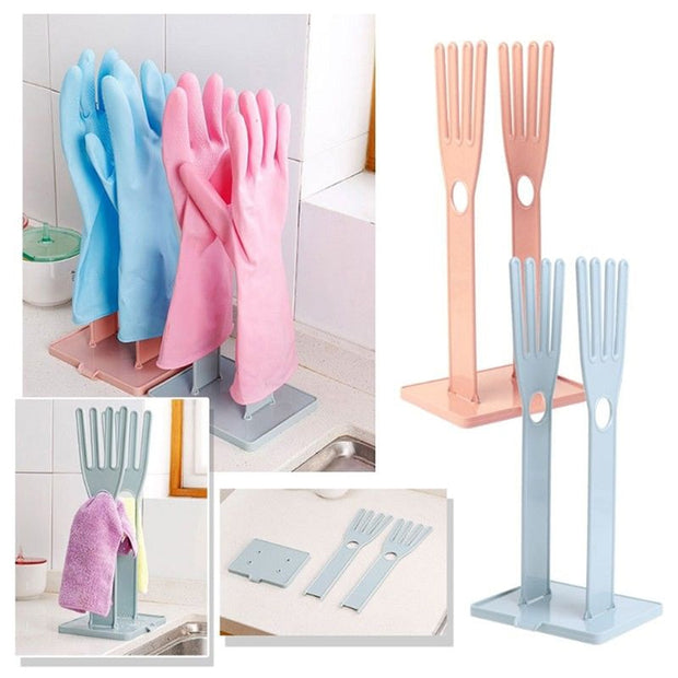Plastic Household Gloves Rack Drying Drain Water Stand Holder Dish Kitchen Tools