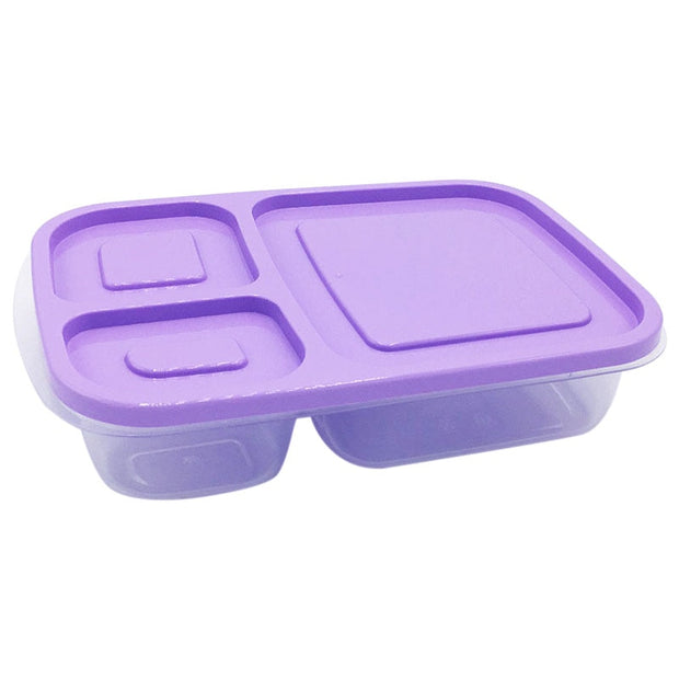 Plastic Lunch Box With Lid 3 Compartments Food Fruit Container Picnic Storage Boxes For Kids Adult XH8Z