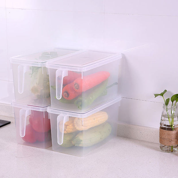 Plastic Storage Collecting Box Basket Kitchen Refrigerator Fruit Food Organiser Utility Storage Basket With Handle
