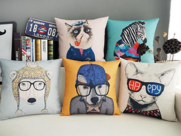 Pop Hand Painted Animal Printed Pillowcase Modern Dog And Cat Cushion Decorative Pillow Cushions Home Decor Throw Pillow 45*45
