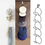 Portable Multi-Layer 1-Hook 5-Ring Door Nail-Free Iron Coat Hat Hook Bag Scarf Wardrobe Storage Rack For Home Storage