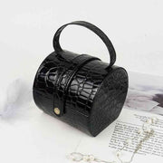 Portable Travel Small Round Jewelry Box Home Storage Organizer Box Inside Velvet Black Leather Storage Box For Women Bedroom