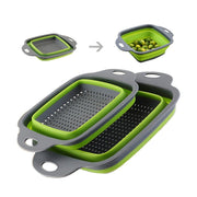 Practical 2PCS/SET Foldable Soft Silicone Collapsible Colander Fruit Vegetable Strainer Square Basket Home Kitchen Tool