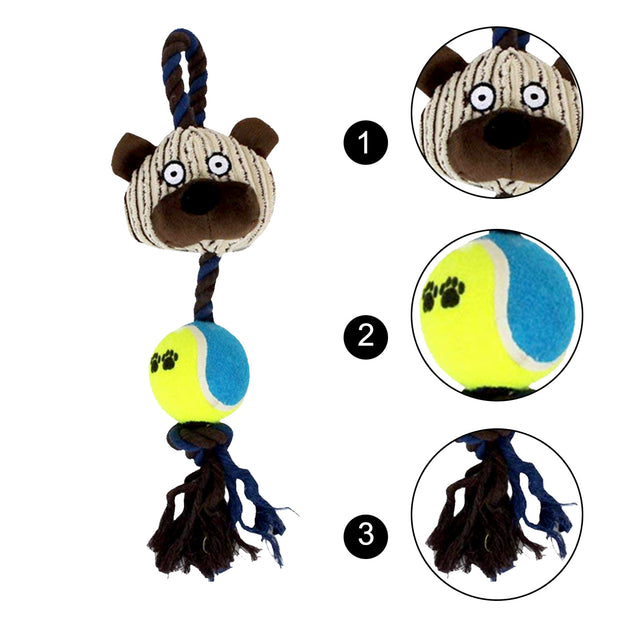 Practical Cotton Ropes Tennis Ball Plush Dog Toys Pet Playing Bear Interactive Chew Sound Toys