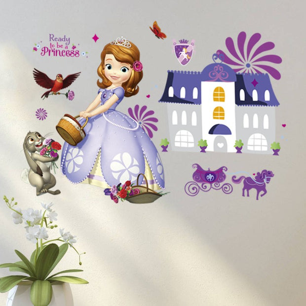Princess Sofia In Castle Wall Sticker For Kids Bedroom DIY Decoration Removable Self Adhesive Mural Decals Cartoon Style Poster
