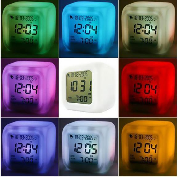 Promotion! Cute 7 Colour Backlight Modern Digital Alarm Clock Desk Gadget Digital Alarm Thermometer Night Glowing Cube LCD Clock