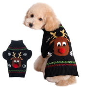 Puppy Xmas Cloth Knitwear Warm Clothes Christmas Pet Dog Sweater Cute Deer Pattern Turtleneck For Winter Christmas Supplies