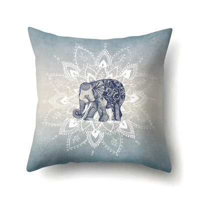 Rainbow Elephant Pillow Cover Bohemian Pastel Floral Pillow Case Soft Throw Cover Pillowcases 45*45cm