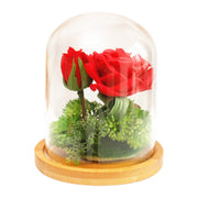 Red Forever Rose Flower Preserved Immortal Fresh Rose In Glass Vase Cloche Wedding Decorations Unique Gifts
