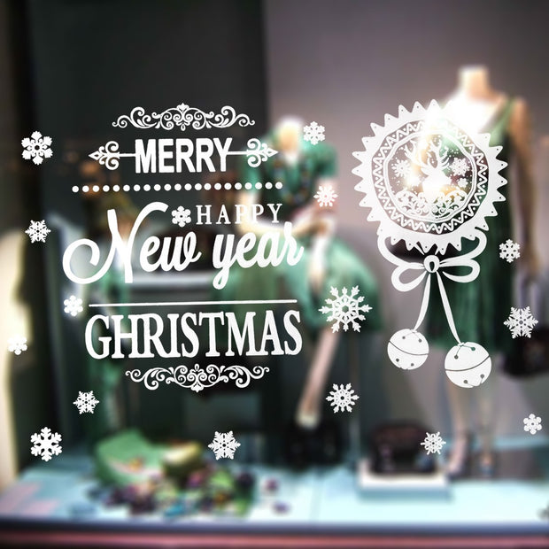 Removable Merry Christmas Vinyl Window Stickers Christmas Bauble Bell DIY Showcase Window Clings Glass Door Stickers