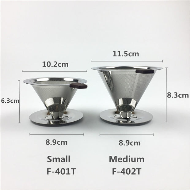 Reusable Coffee Filter Stainless Steel Holder Metal Mesh Funnel Baskets Drif Coffee Filters Dripper V60 Drip Coffee Filter Cup