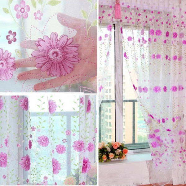 Romantic Tulle Curtain Window Screening Chrysanthemum Shaped Curtain For Living Room Decoration2018ing